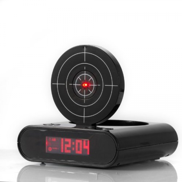 ... bang gun o clock is alarm clock and target range all in one every