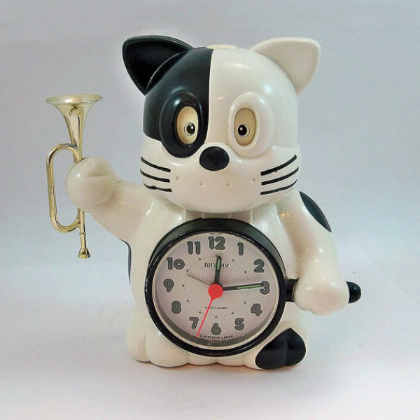 Vintage Rhythm Cat with Bugle Novelty Alarm Clock - Made in Japan