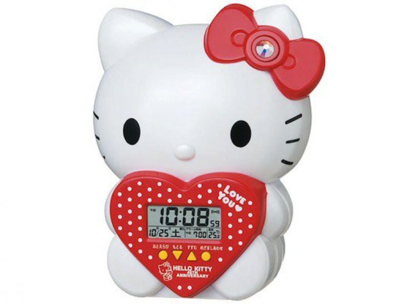 The Seiko Hello Kitty Talking Alarm Clock JF377A features: