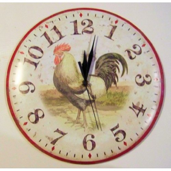 Antique Style Country Rooster Kitchen Farmhouse Wall Clock