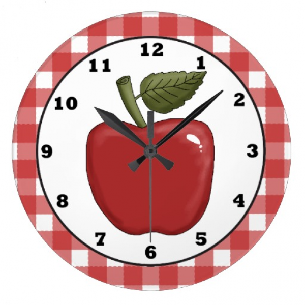 Country Apple cartoon kitchen wall clock Wallclock | Zazzle