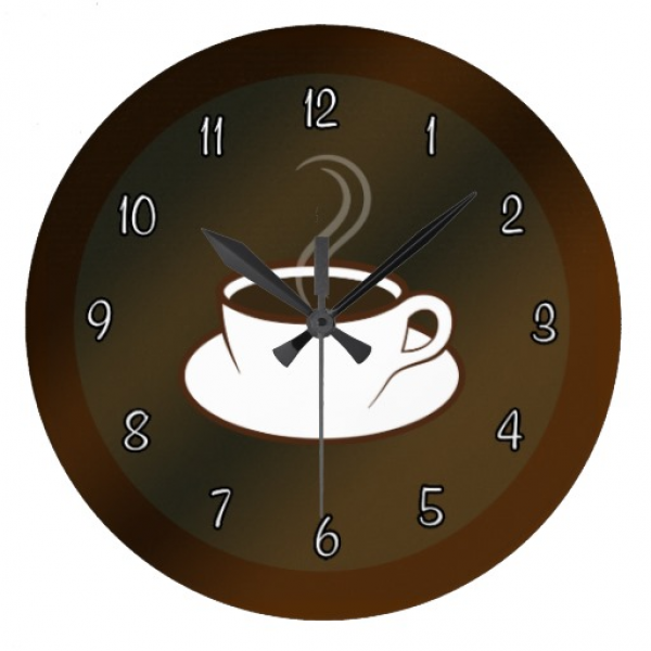 Coffee Cup Cafe Coffee Shop Large Round Wall Clock Wall Clock | Zazzle