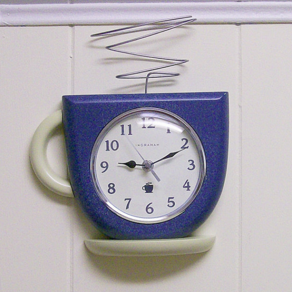 Vintage Coffee Cup Wall Clock battery by VintageShelfAndWall