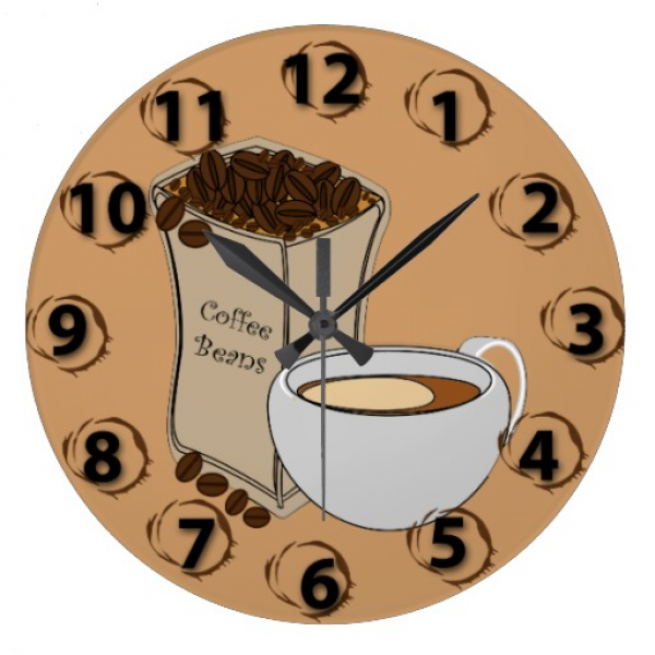 Coffee Beans Coffee Cup Round Wall Clock | Zazzle