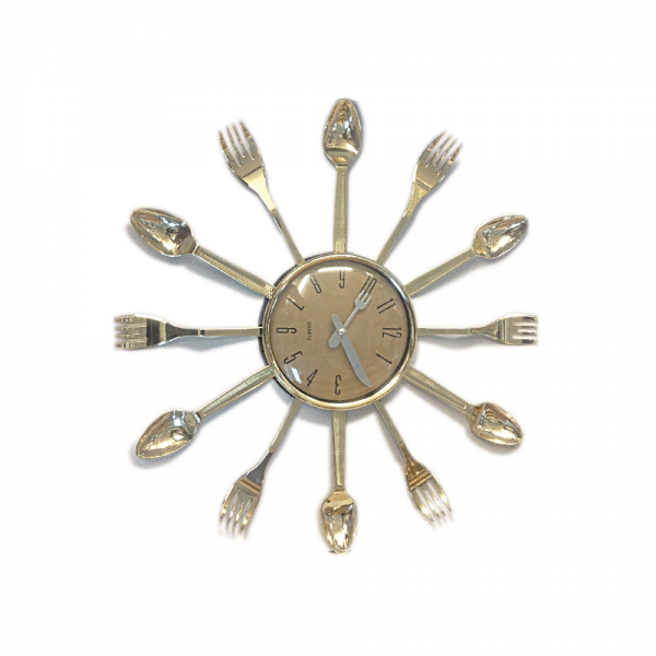 Plastic Spoon and Fork Kitchen Wall Clock