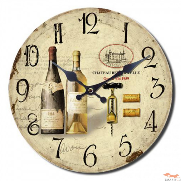 Wooden Wall Hanging Clock – Wine Time