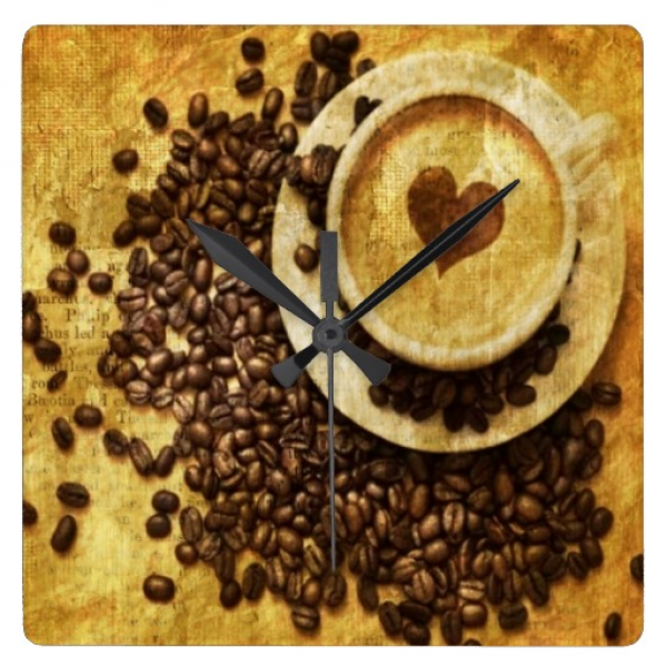 vintage modern coffee beans cappuccino heart wall clocks | Zazzle