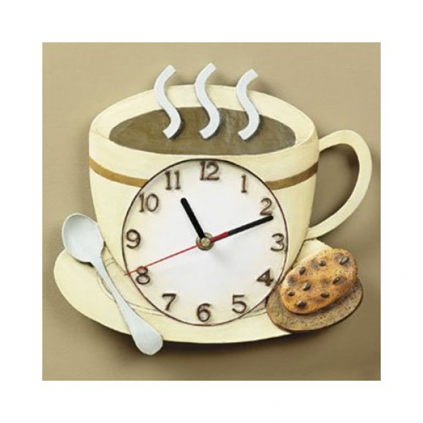 ... Coffee Cup Latte Cappucino Kitchen Wall Clock - Coffee Clocks For