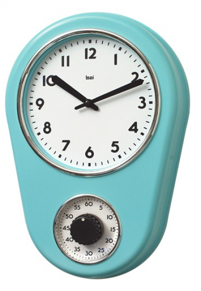 Bai Design Retro Kitchen Timer Wall Clock in Turquoise