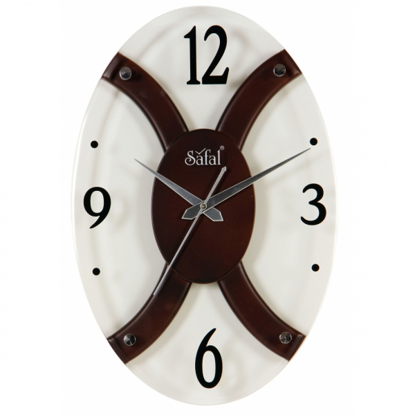 Oval Shaped Wooden Wall Clock - MebelKart