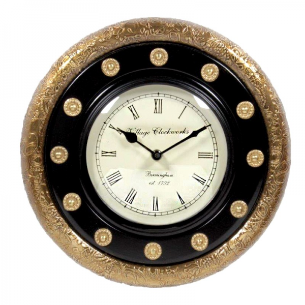 Brass Embossed Round Shaped Wall Clock