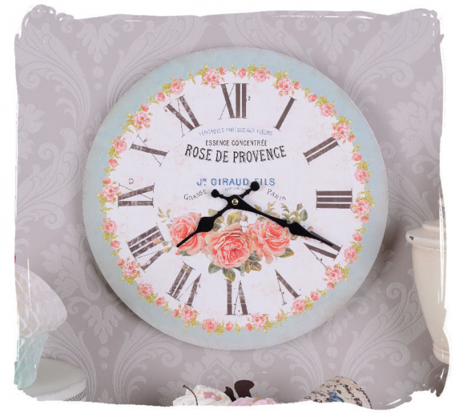 French country-style wall clock Rose de Provence vintage kitchen clock ...