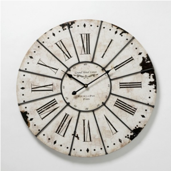 ... Chic Vintage LARGE 'Antiqued' Country Style Kitchen Wall Clock (60cm
