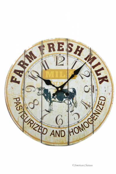 Vintage Style Farm Fresh Cows Milk Country Wall Kitchen Clock | eBay