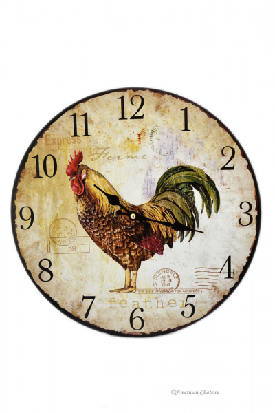 ... Vintage Style Country Kitchen Rooster Bistro Wood Wall Clock | eBay