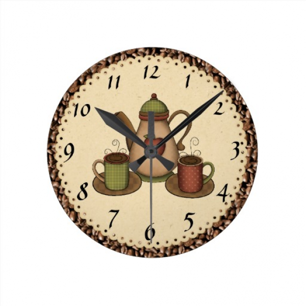 Kitchen Coffee clock | Zazzle
