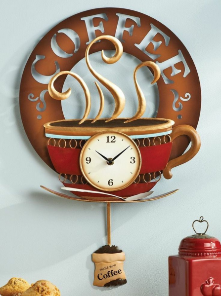 Coffee Cup Theme Kitchen Wall Clock Metal Home Decor Accent NEW ...