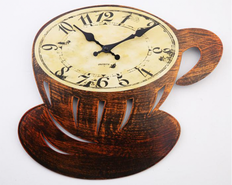 Retro Creative Coffee Cup Wall Clocks,Plastic Mute Dining Room Kitchen ...