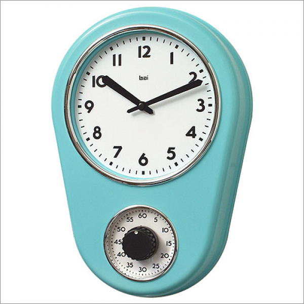 ... Kitchen Timer Retro Modern Wall Clock in Turquoise (Wall Clocks