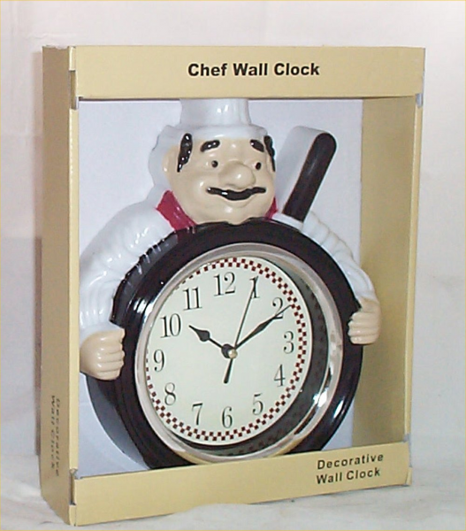 Fat Chef Wall Clock Holding Pan Bistro Home Decor Decoration Battery ...
