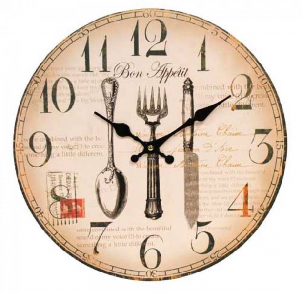 Clock-French-Country-Vintage-Inspired-Wall-Clocks-Time-Cutlery-Kitchen ...