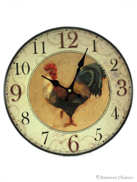 Home Wall Decor Clocks Rooster Farm French Wall Clock Kitchen Country ...