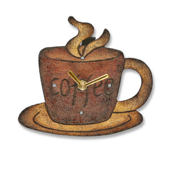 Coffee Mug Wood Magnet Wall Clock