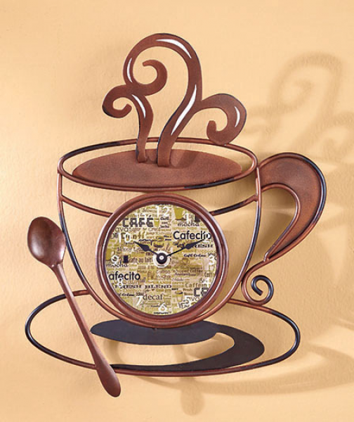Clock Battery Operated Decorative Metal Coffee Kitchen Wall Hanging ...