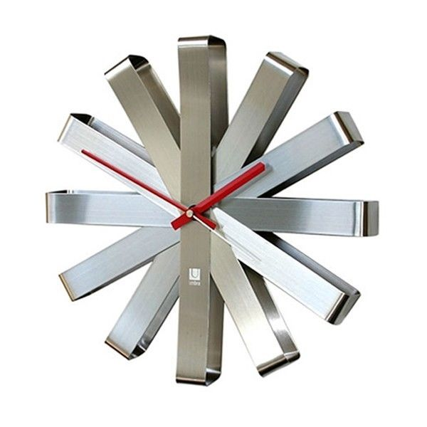 Ribbon Wall Clock Stainless Steel Home Decor Kitchen Dining Modern ...