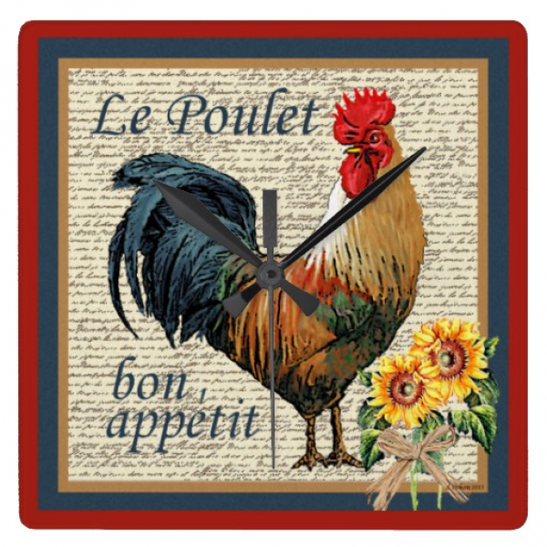French Country Kitchen-Rooster Clocks | Zazzle