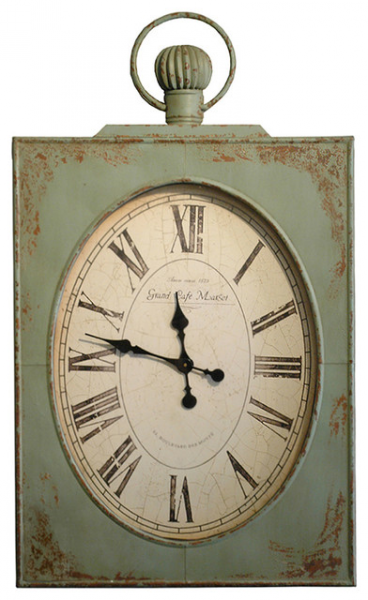 French Country Vintage Green Grand Cafe 45 Wall Clock clocks