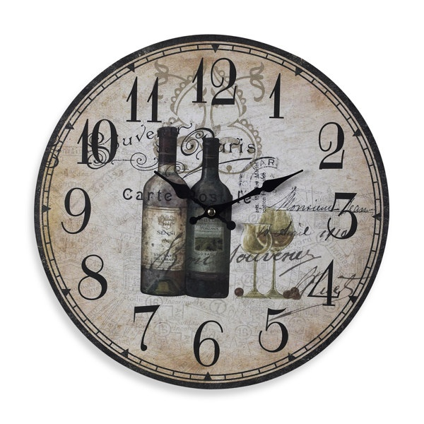 French Wine Bottles Wall Clock - Bed Bath & Beyond - 13 $17.99