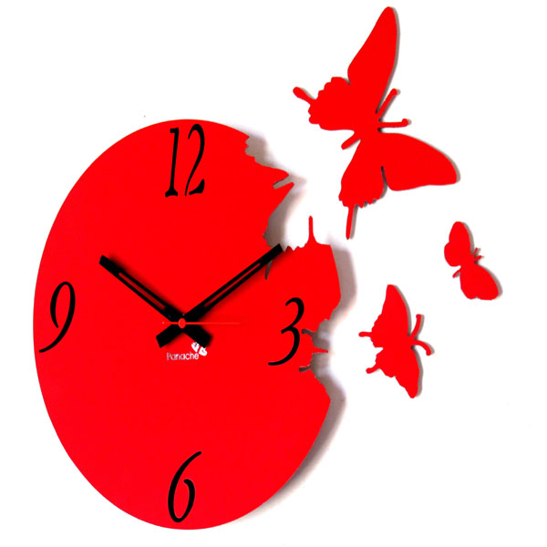 ... Clocks :: Wall Clocks :: Panache Beautiful Butterfly Wall Clock Red