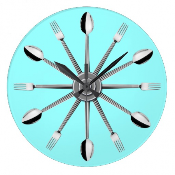 Spoon and Fork Kitchen Wall Clock | Zazzle