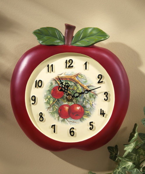 Vintage Look Apple Shaped Kitchen Wall Clock