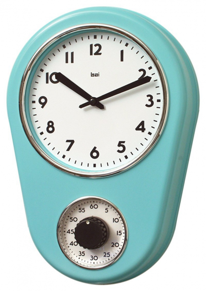 Retro Kitchen Timer Wall Mount Clock Turquoise Vintage Antique Style ...