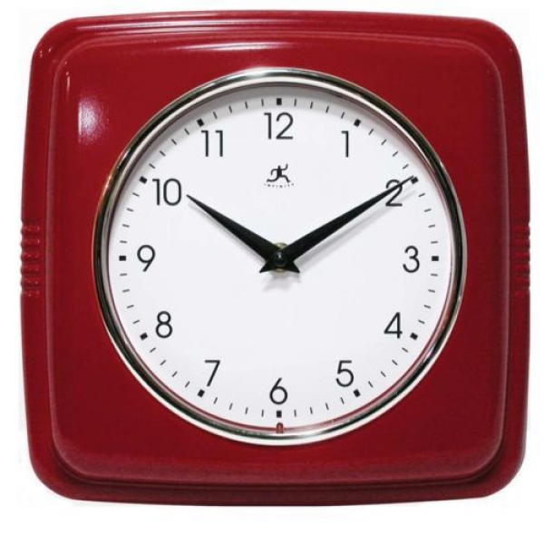 Sleek Retro Red Wall Clock Vintage Style Kitchen Clocks Convex Glass ...