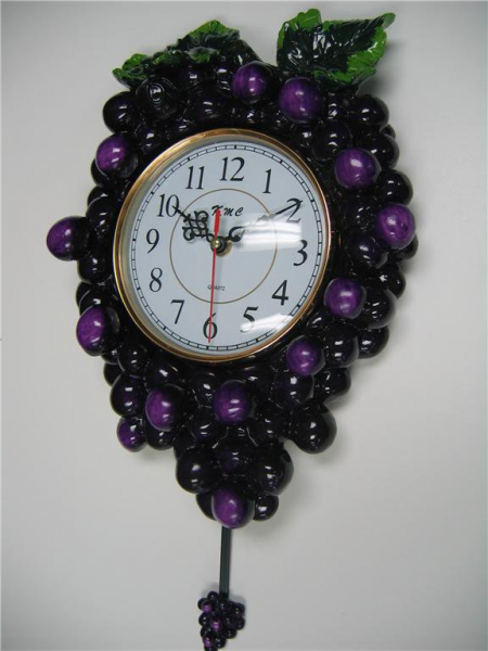 3D Grape pendulum wall clock.Kitchen Wine vineyard Toscan fruit bar ...