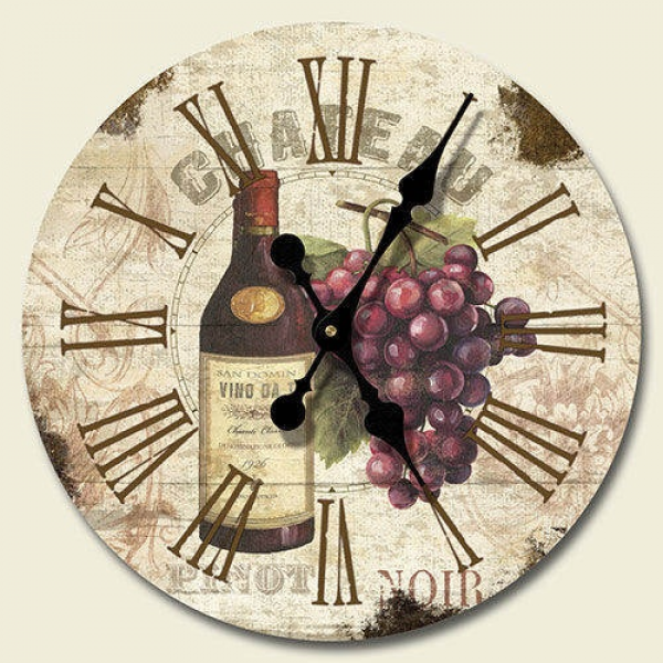 New 12 Wall Clock in Box Chateau Wine Grapes Vineyard Tuscan Decor ...