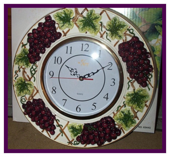 PURPLE GRAPES 3D WALL KITCHEN DINING ROOM CLOCK HANDPAINTED CLEAR ...