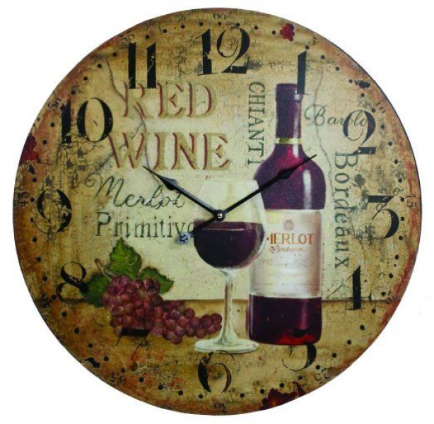 ... - 23 Antique Looking Red Wine Wall Clock - Kitchen Clocks Wall Wine