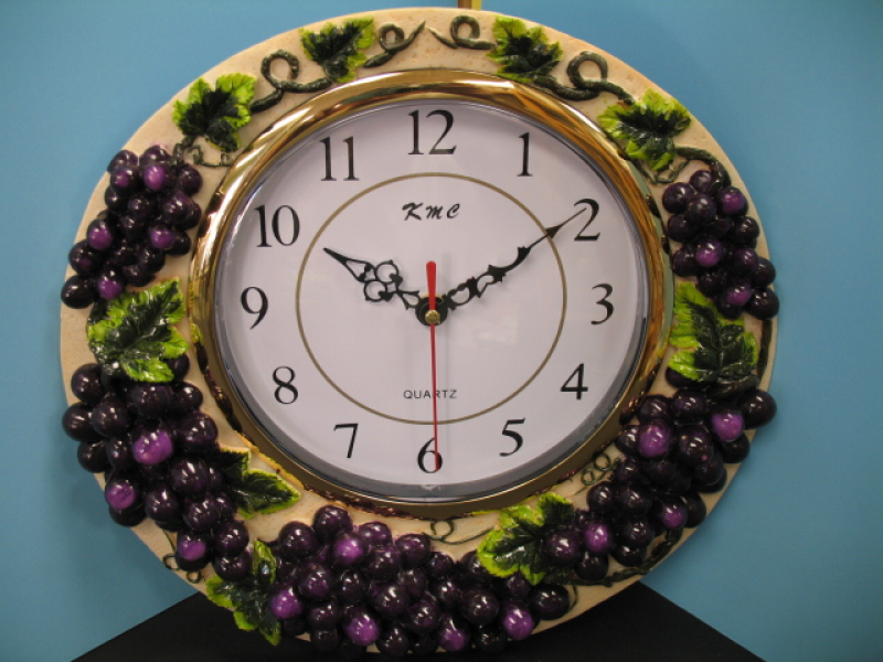 3D GRAPE wall clock Home Decor Kitchen vineyard wine Bar Set fruit new ...