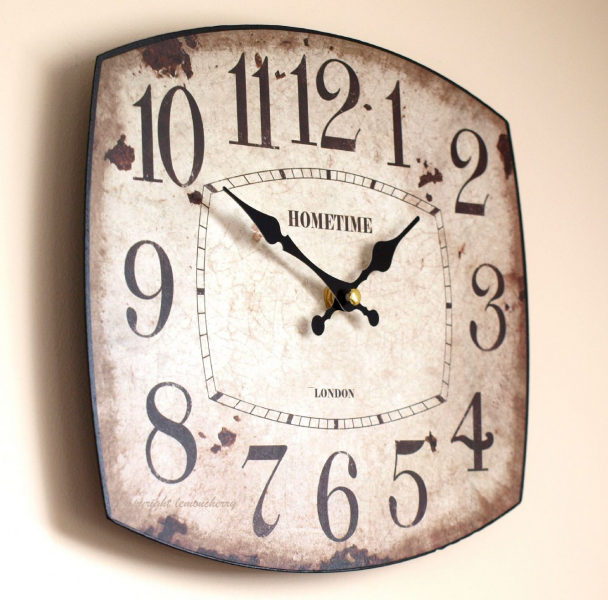 ... Rustic Style Oval Clock for Kitchen, Office, Cafe or Work Place