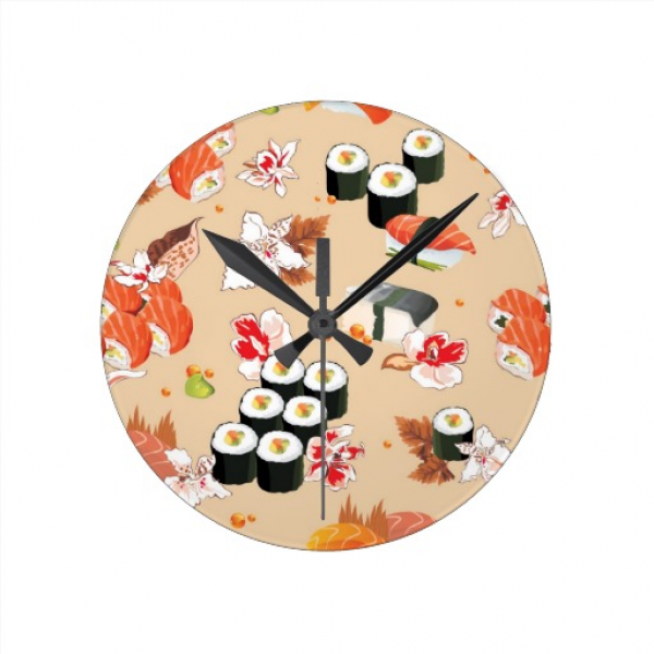 Japanese Food: Sushi Pattern 3 Wall Clocks | Zazzle