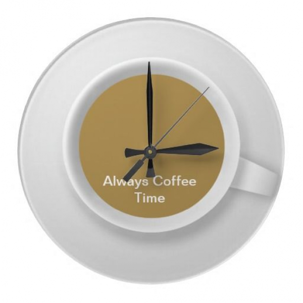Coffee theme kitchen wall clock with words Always Coffee Time and ...