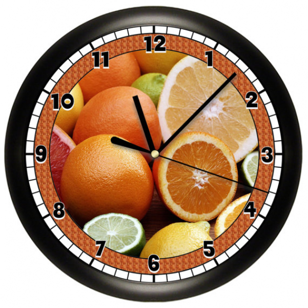 Decortive Citrus Fruit Oranges Kitchen Wall Clock by cabgodfrey
