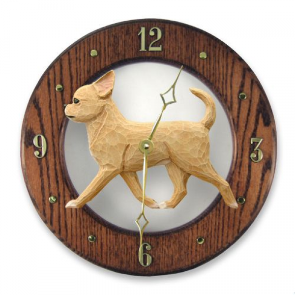 Chihuahua Oak Wall Clock. In Home Kitchen, Living Room or Den Product ...