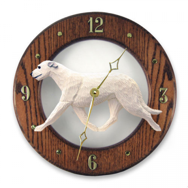 Irish Wolfhound Oak Wall Clock in Home Kitchen Living Room or Den ...