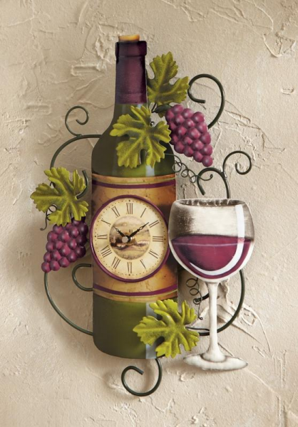 Grapevine Wine Bottle Metal Kitchen Wall Clock Home Decor New I7230J44 ...