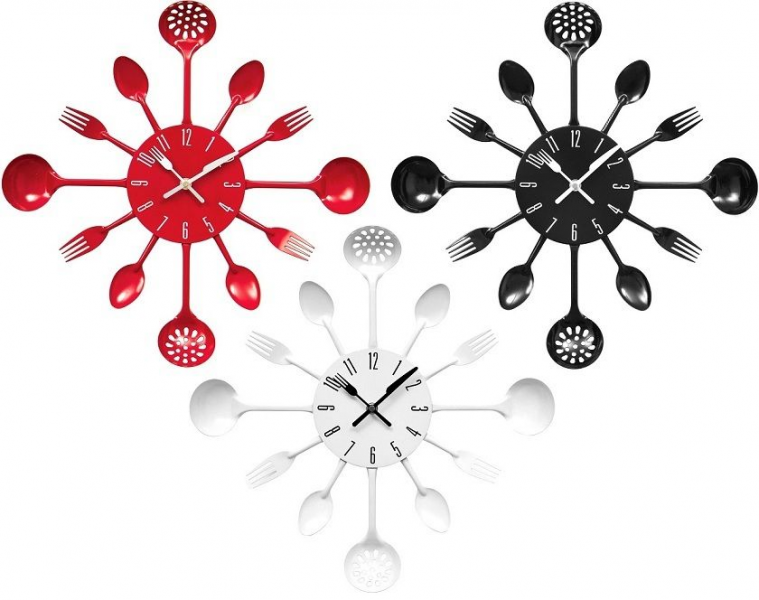 Kitchen Cutlery Design Wall Clock Wall Mounted Red Black And White ...
